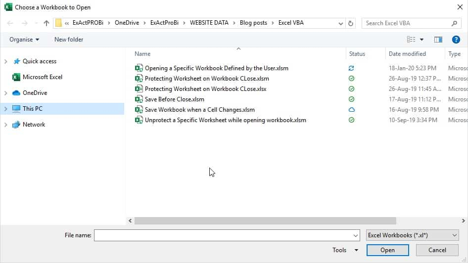 Open a Specific Workbook Defined by the User 1
